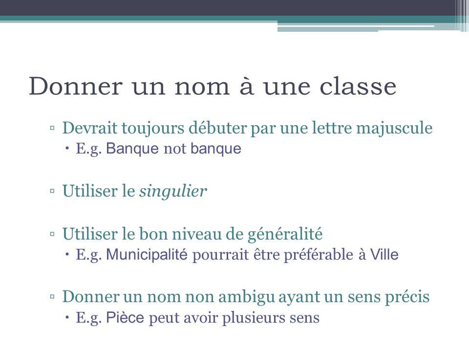 Donner un nom à une classe