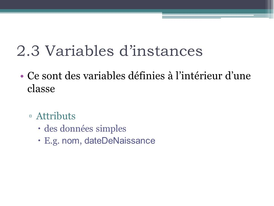 2.3 Variables d'instances