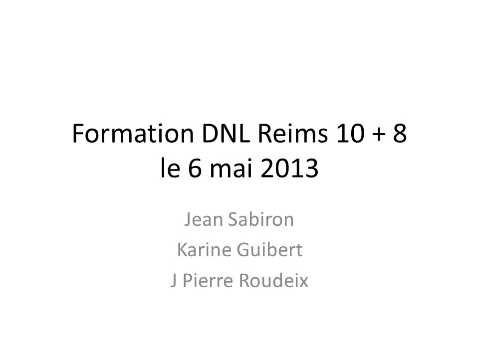 Formation DNL Reims 10 + 8 le 6 mai 2013
