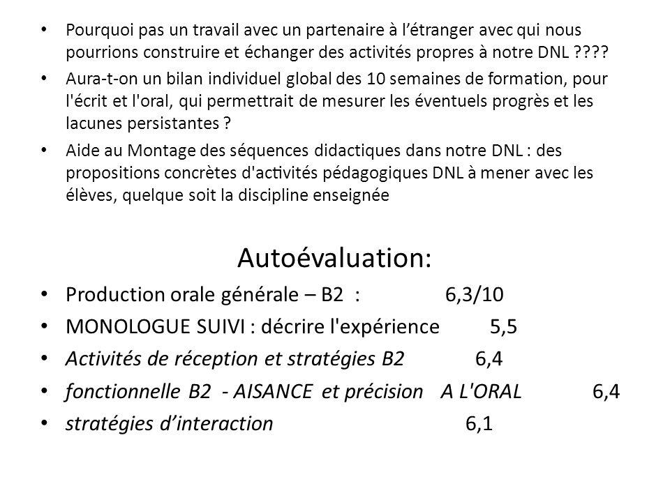 Autoévaluation: Production orale générale – B2 : 6,3/10