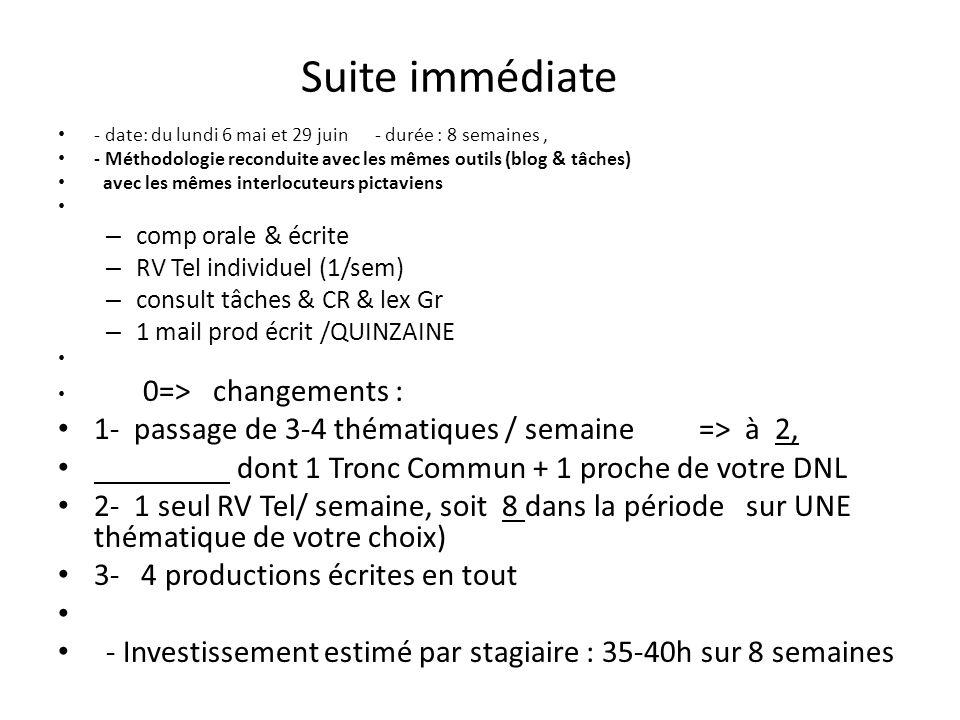 Suite immédiate 1- passage de 3-4 thématiques / semaine => à 2,