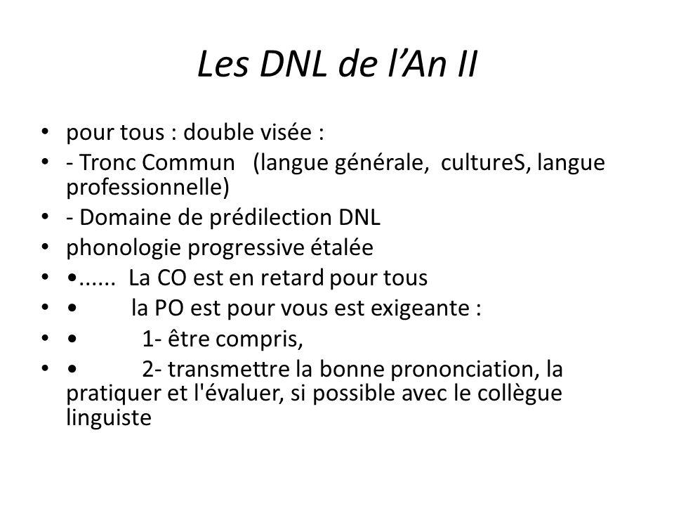 Les DNL de l'An II pour tous : double visée :