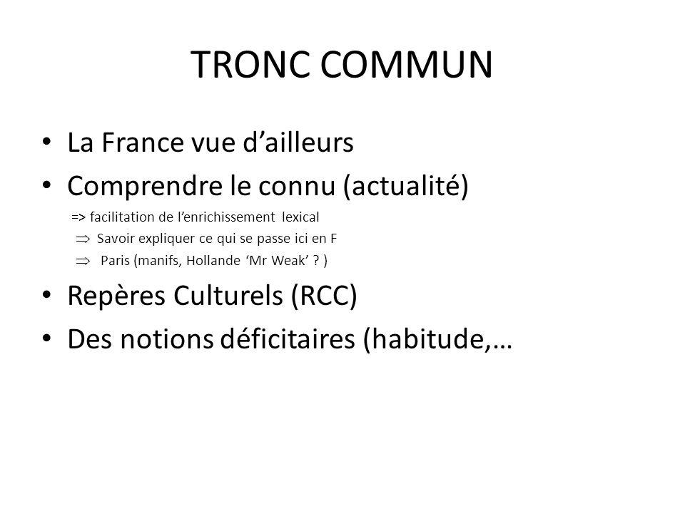 TRONC COMMUN La France vue d'ailleurs Comprendre le connu (actualité)