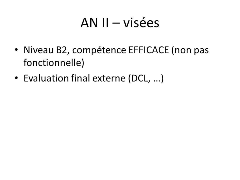 AN II – visées Niveau B2, compétence EFFICACE (non pas fonctionnelle)
