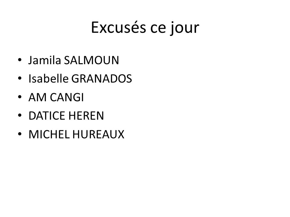 Excusés ce jour Jamila SALMOUN Isabelle GRANADOS AM CANGI DATICE HEREN