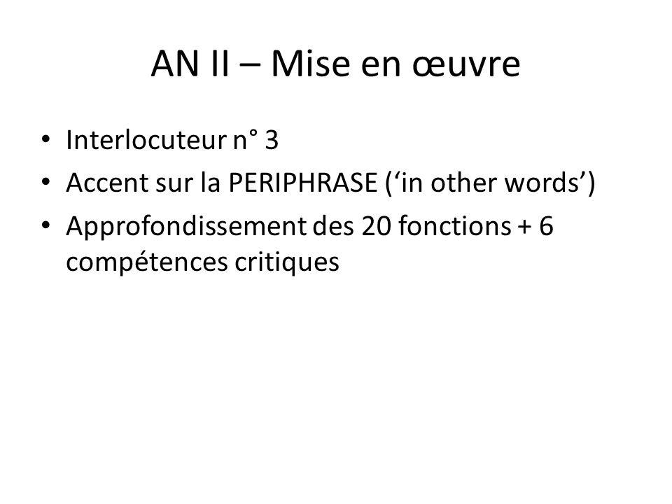 AN II – Mise en œuvre Interlocuteur n° 3