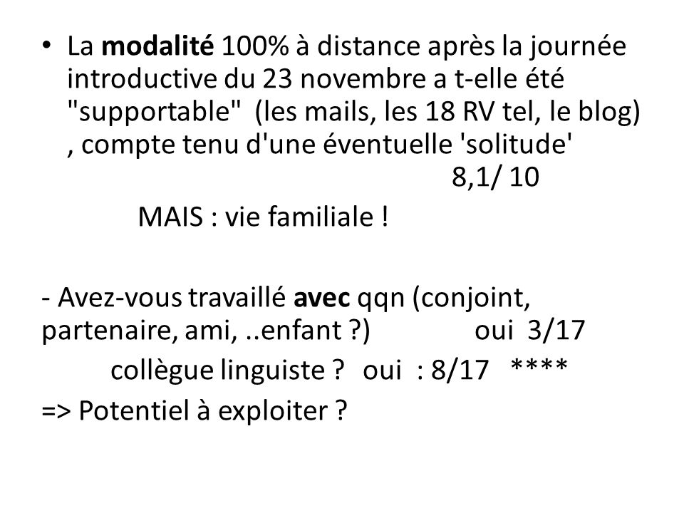 La modalité 100% à distance après la journée introductive du 23 novembre a t-elle été supportable (les mails, les 18 RV tel, le blog) , compte tenu d une éventuelle solitude 8,1/ 10