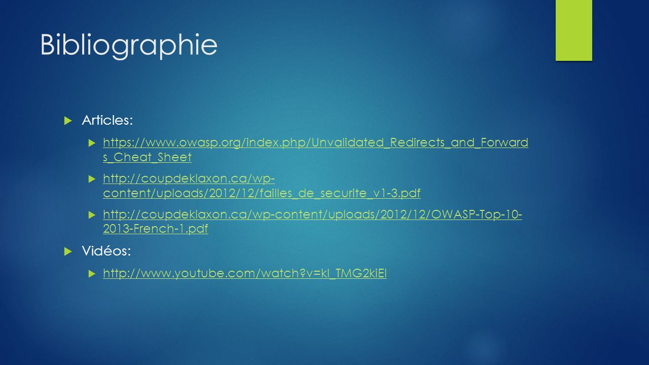 Bibliographie Articles: Vidéos: