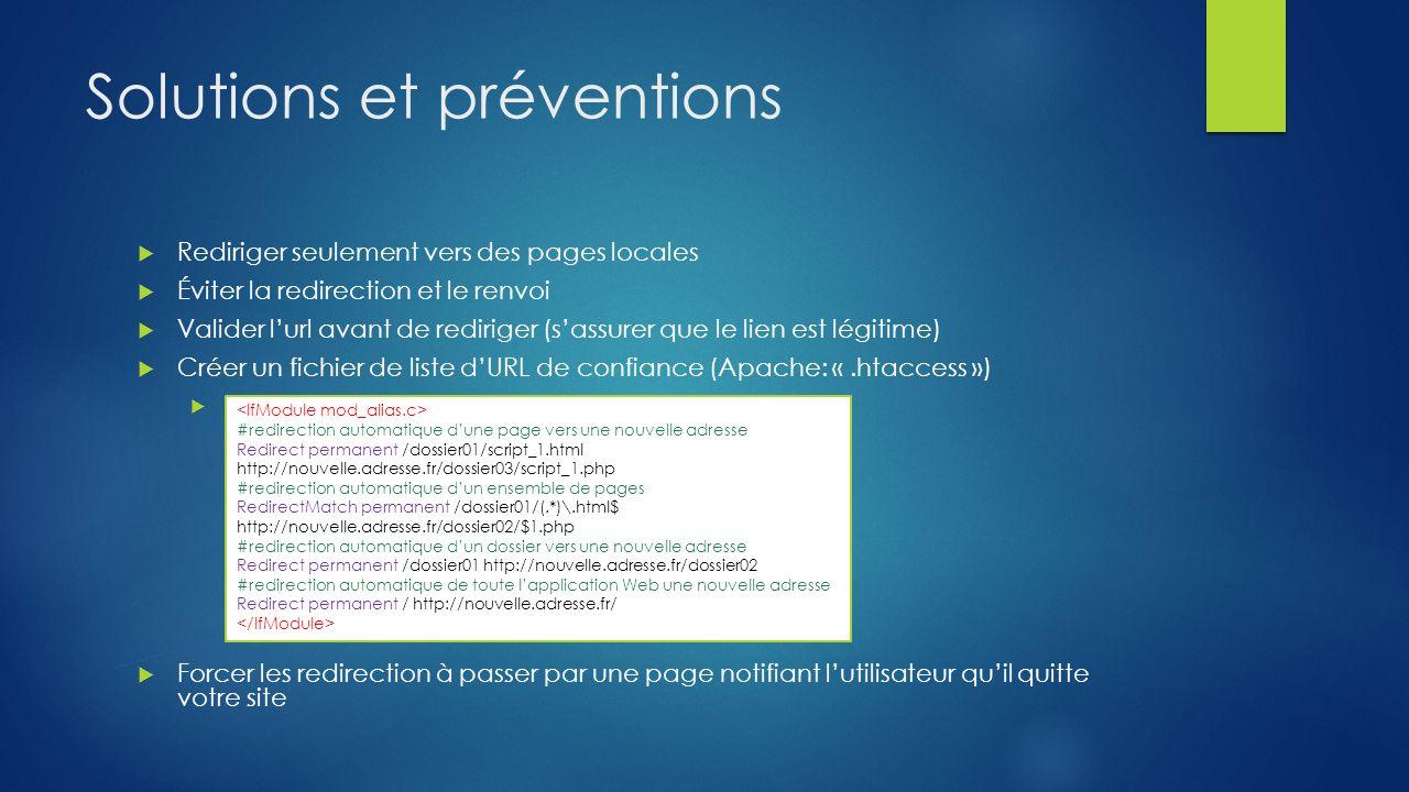 Solutions et préventions