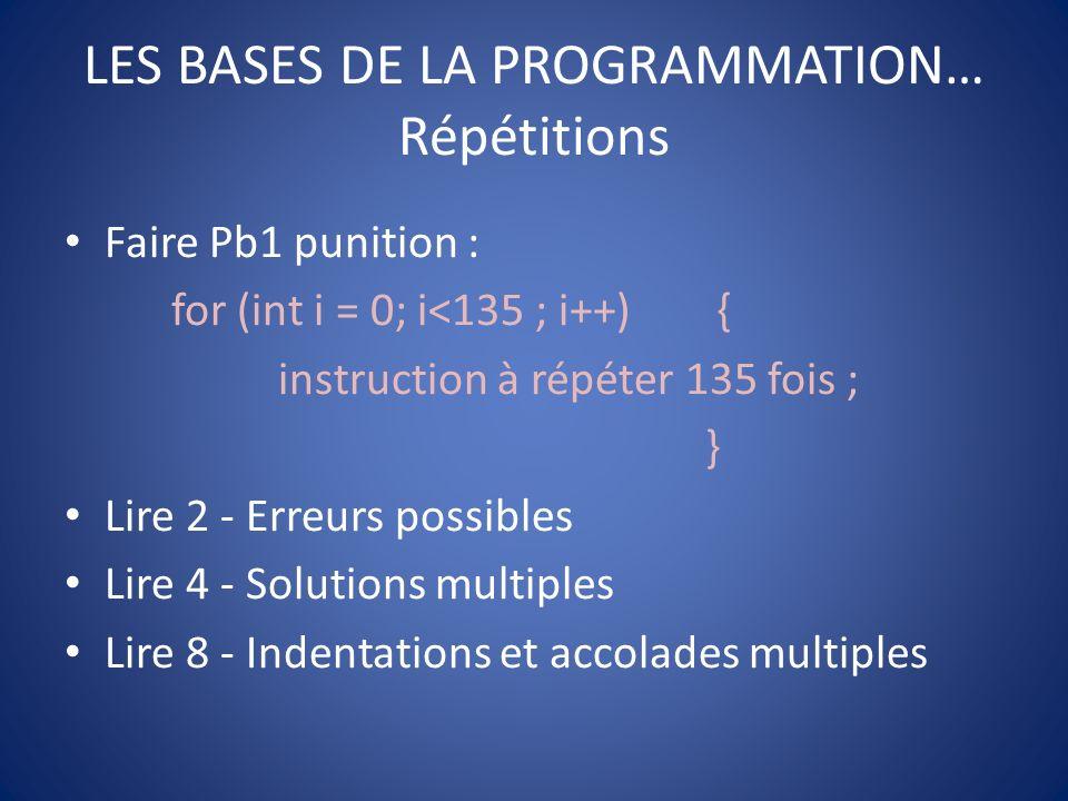 LES BASES DE LA PROGRAMMATION… Répétitions
