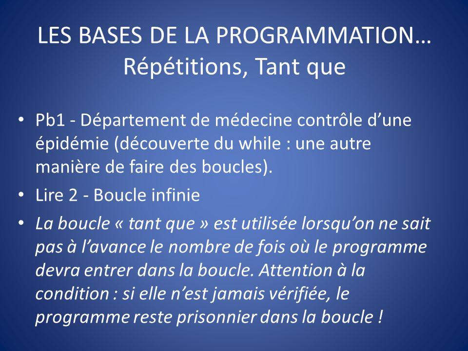 LES BASES DE LA PROGRAMMATION… Répétitions, Tant que