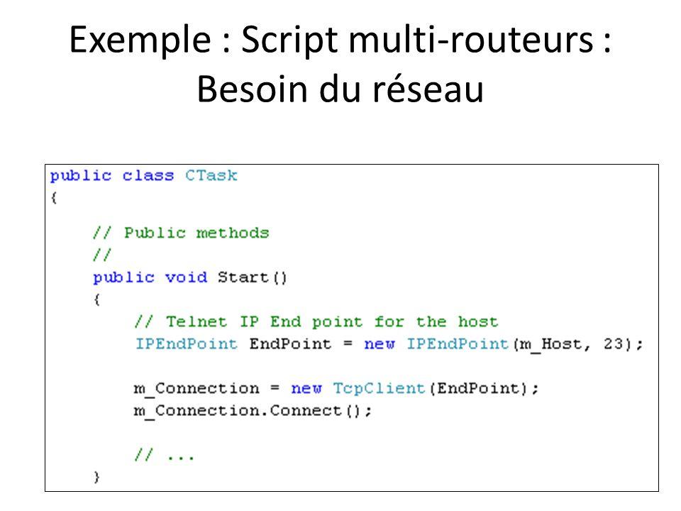 Exemple : Script multi-routeurs : Besoin du réseau