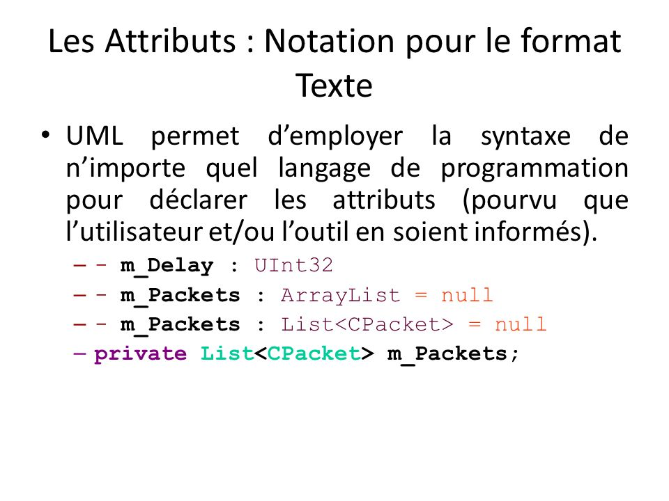 Les Attributs : Notation pour le format Texte