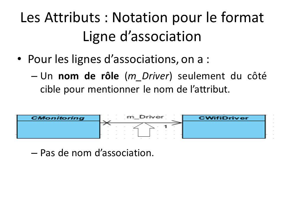 Les Attributs : Notation pour le format Ligne d'association