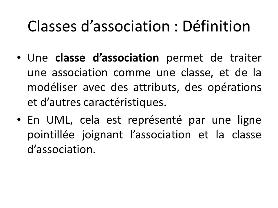 Classes d'association : Définition