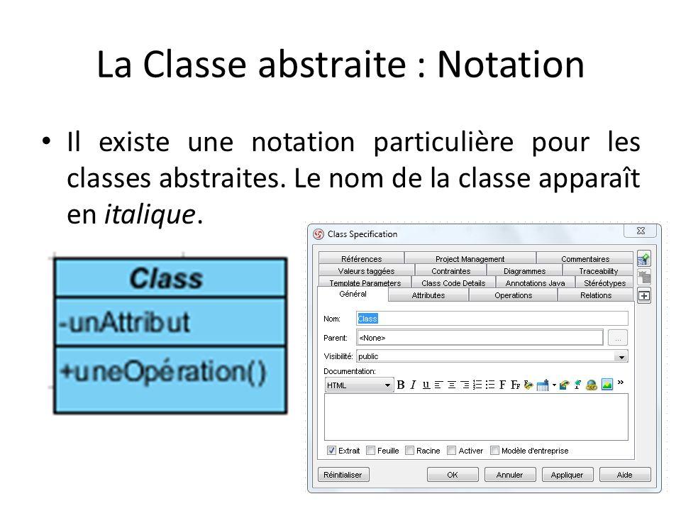 La Classe abstraite : Notation