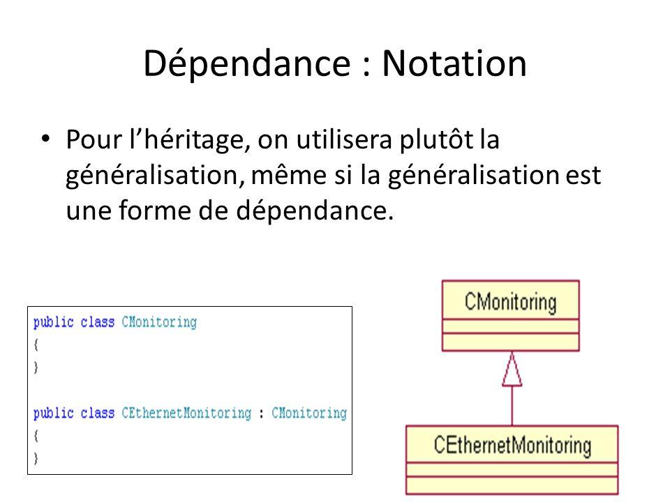 Dépendance : Notation Pour l'héritage, on utilisera plutôt la généralisation, même si la généralisation est une forme de dépendance.