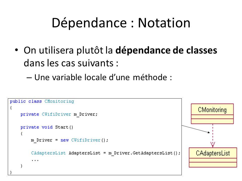 Dépendance : Notation On utilisera plutôt la dépendance de classes dans les cas suivants : Une variable locale d'une méthode :