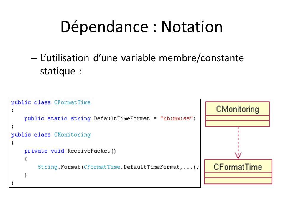 Dépendance : Notation L'utilisation d'une variable membre/constante statique :