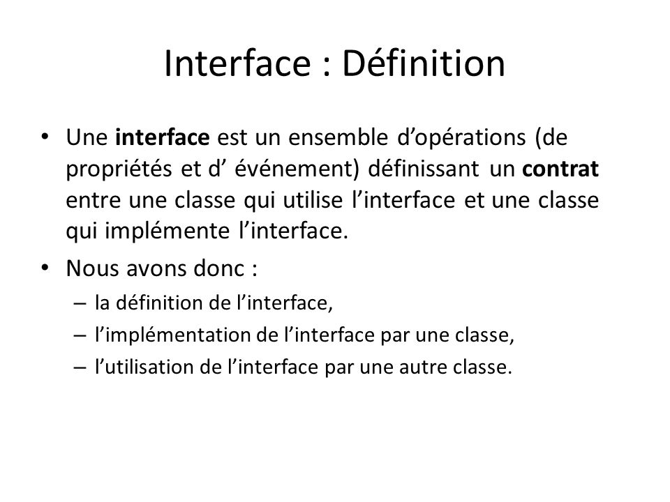 Interface : Définition