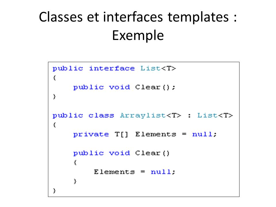 Classes et interfaces templates : Exemple