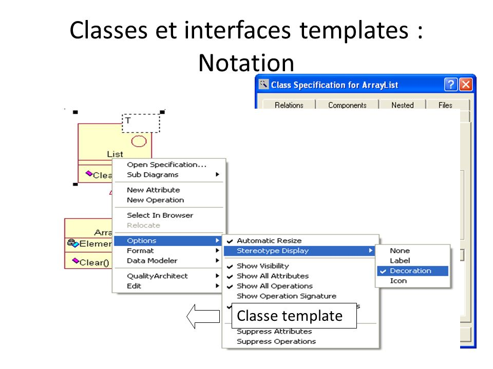 Classes et interfaces templates : Notation