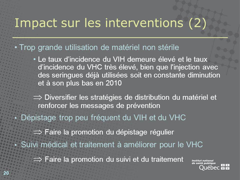 Impact sur les interventions (2)