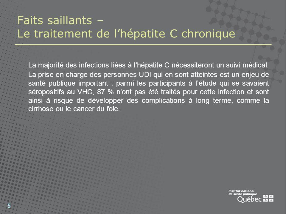 Faits saillants – Le traitement de l'hépatite C chronique
