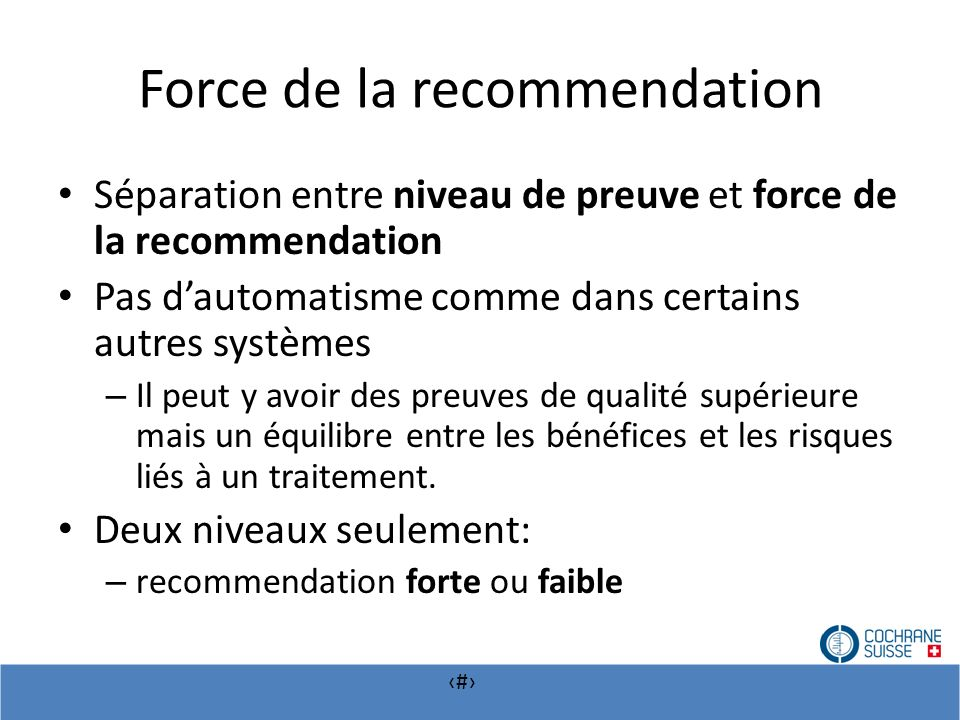Force de la recommendation