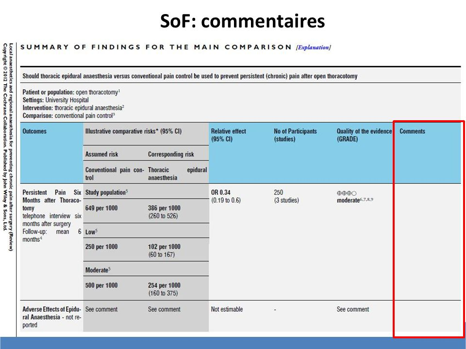 SoF: commentaires