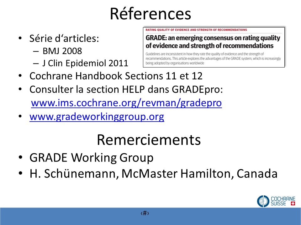 Réferences Remerciements GRADE Working Group