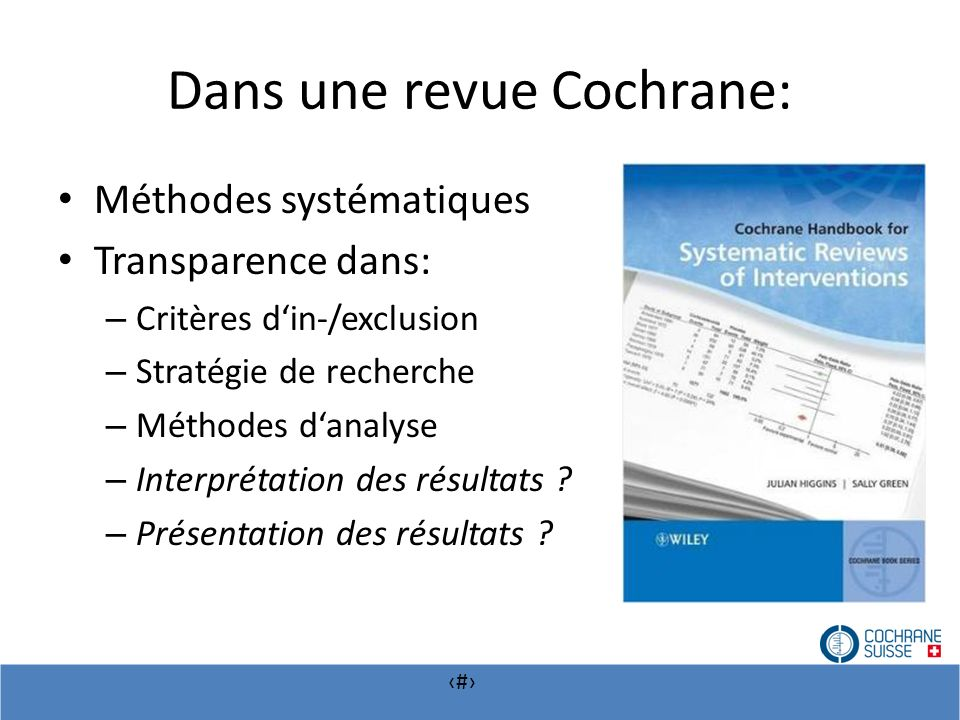 Dans une revue Cochrane: