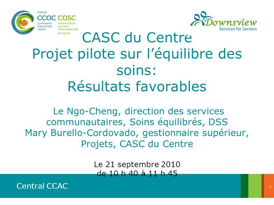 CASC du Centre Projet pilote sur l'équilibre des soins: Résultats favorables Le Ngo-Cheng, direction des services communautaires, Soins équilibrés, DSS Mary Burello-Cordovado, gestionnaire supérieur, Projets, CASC du Centre Le 21 septembre 2010 de 10 h 40 à 11 h 45