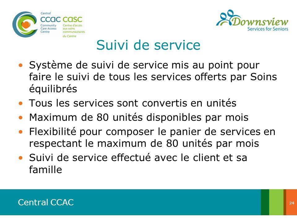 Suivi de service Système de suivi de service mis au point pour faire le suivi de tous les services offerts par Soins équilibrés.
