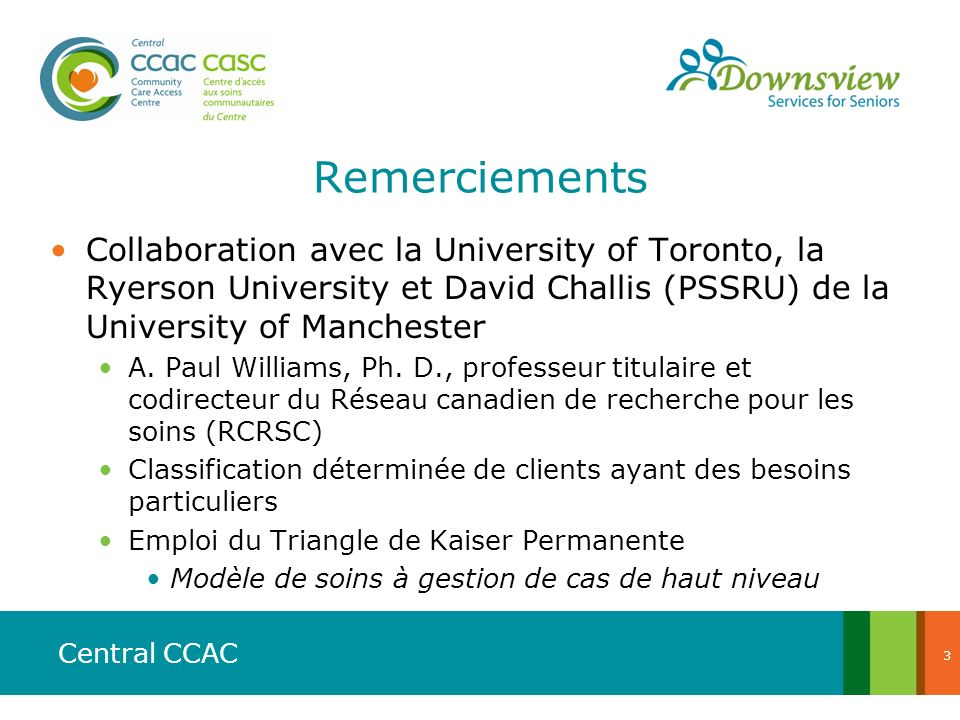 Remerciements Collaboration avec la University of Toronto, la Ryerson University et David Challis (PSSRU) de la University of Manchester.