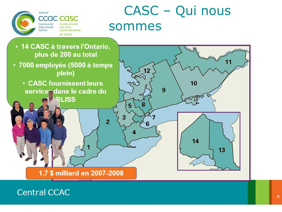 CASC – Qui nous sommes 14 CASC à travers l'Ontario, plus de 200 au total. 7000 employés (5000 à temps plein)