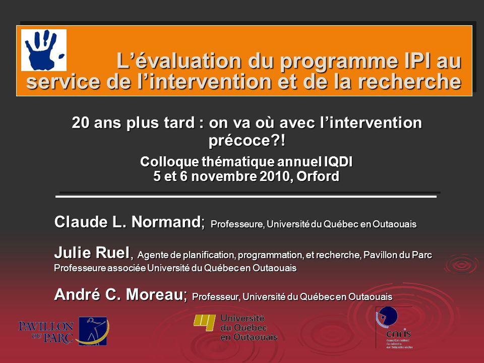 L'évaluation du programme IPI au service de l'intervention et de la recherche