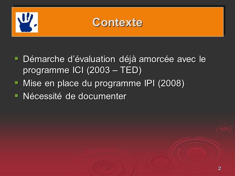 Contexte Démarche d'évaluation déjà amorcée avec le programme ICI (2003 – TED) Mise en place du programme IPI (2008)