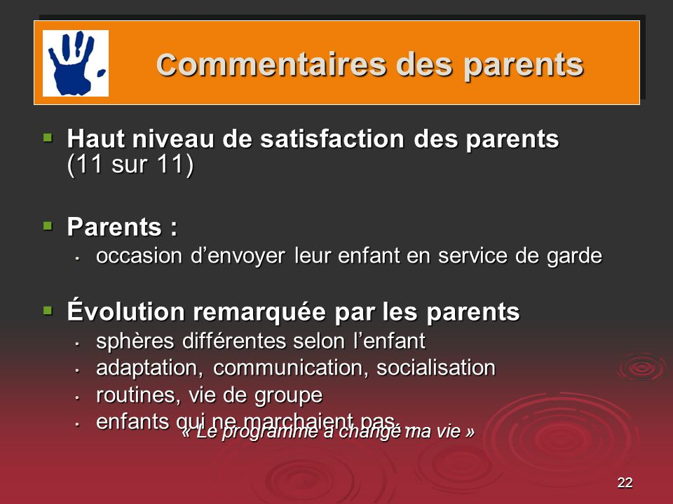 Commentaires des parents