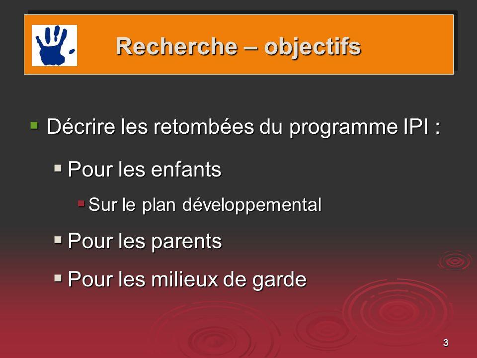 Recherche – objectifs Décrire les retombées du programme IPI :