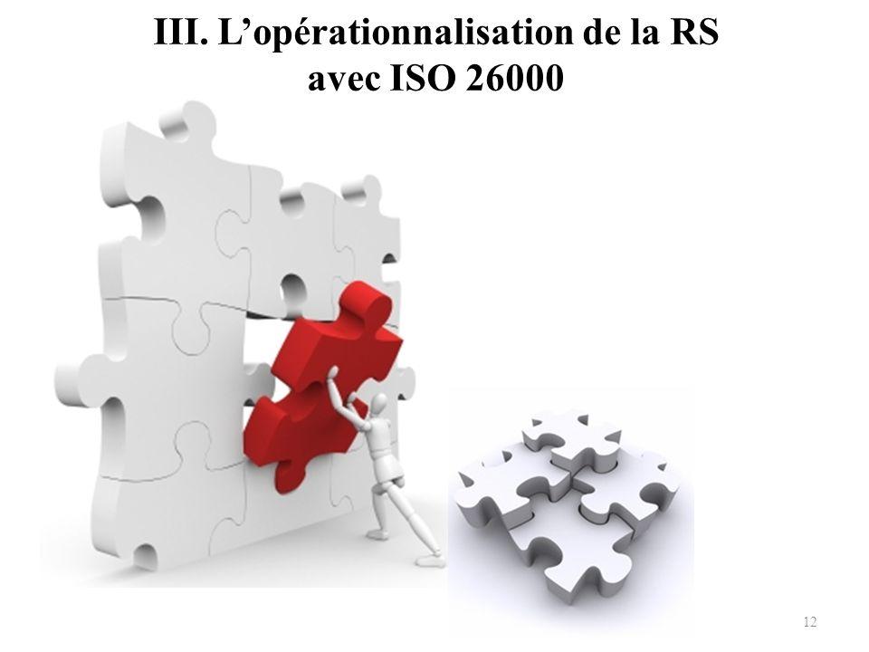III. L'opérationnalisation de la RS avec ISO 26000