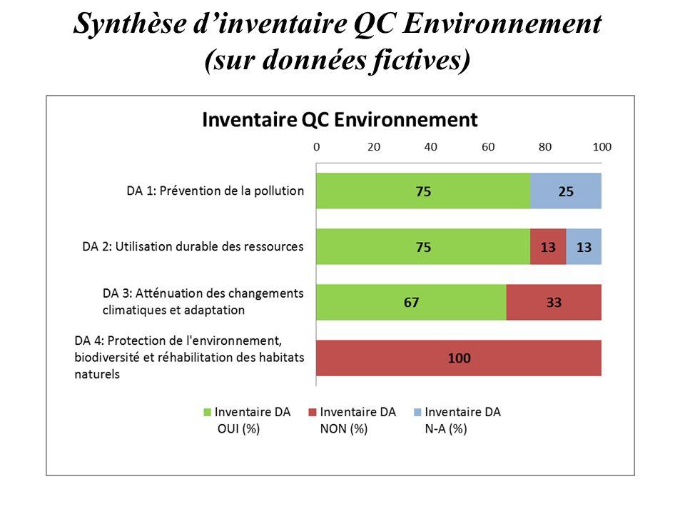 Synthèse d'inventaire QC Environnement (sur données fictives)