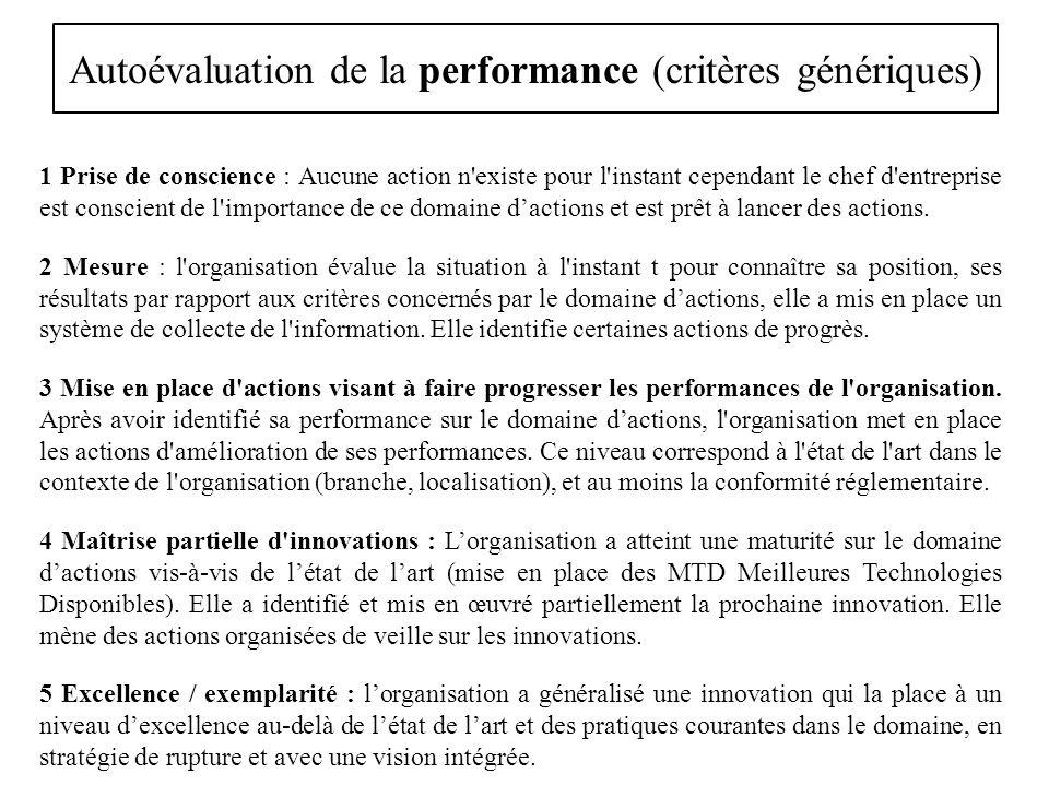 Autoévaluation de la performance (critères génériques)