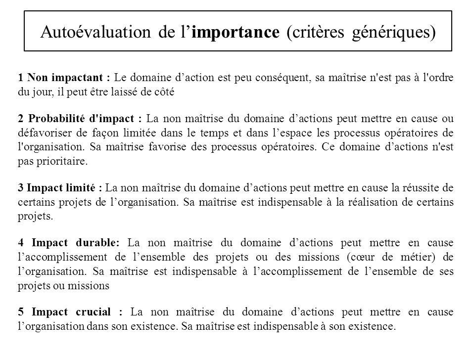 Autoévaluation de l'importance (critères génériques)