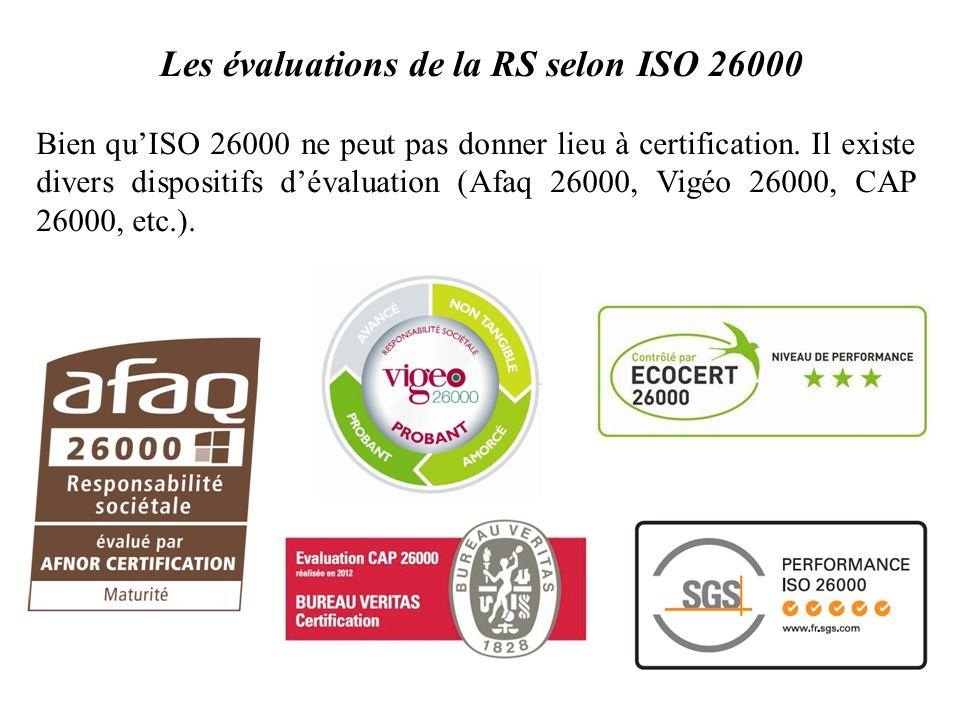 Les évaluations de la RS selon ISO 26000