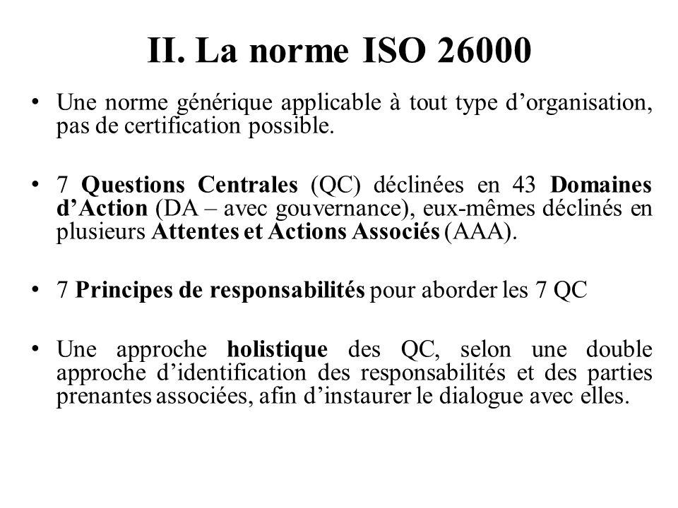 II. La norme ISO 26000 Une norme générique applicable à tout type d'organisation, pas de certification possible.