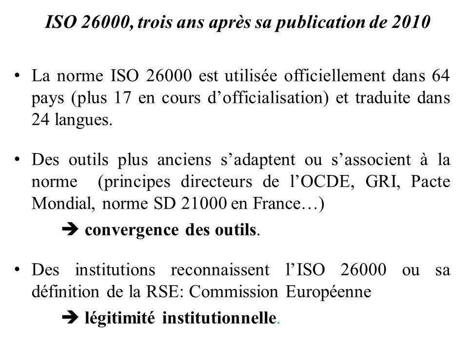 ISO 26000, trois ans après sa publication de 2010