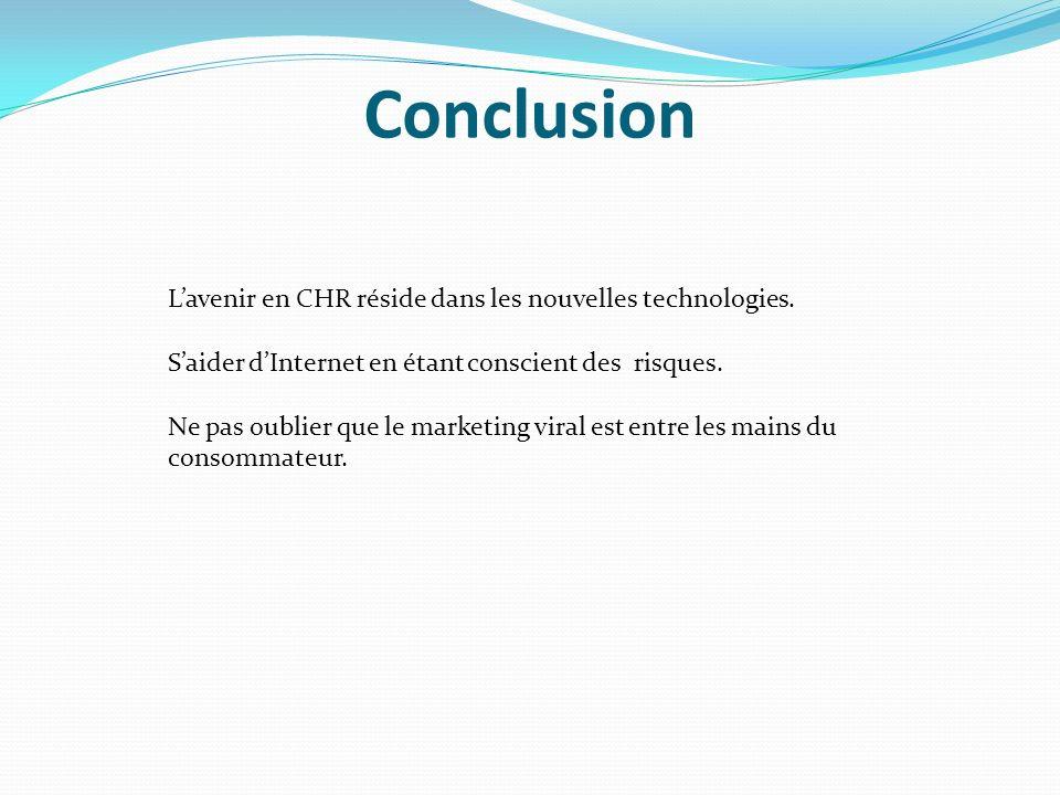 Conclusion L'avenir en CHR réside dans les nouvelles technologies.