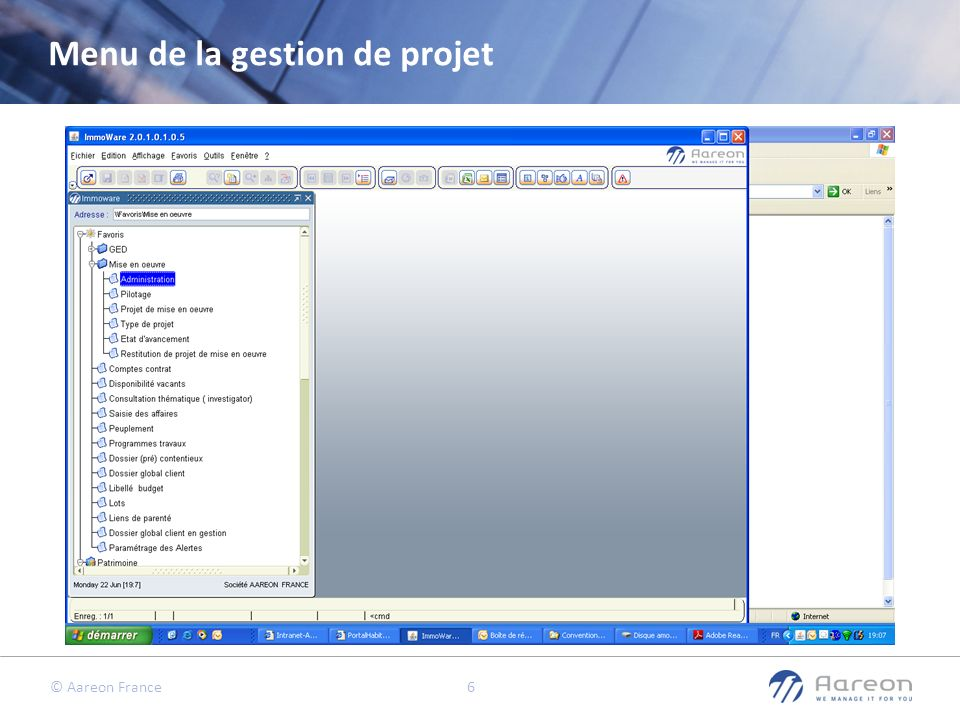 Menu de la gestion de projet