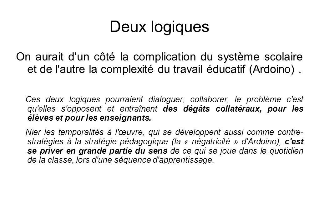 Deux logiquesOn aurait d un côté la complication du système scolaire et de l autre la complexité du travail éducatif (Ardoino) .